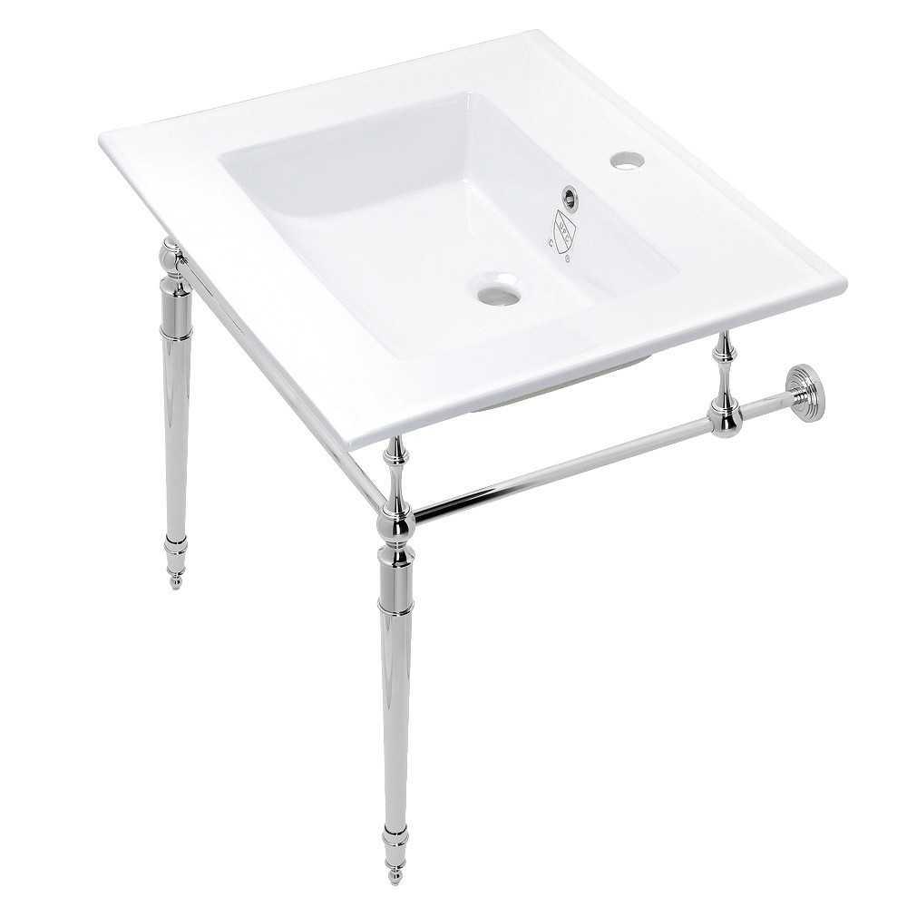 Edwardian 25-Inch Console Sink Set, White/Polished Chrome