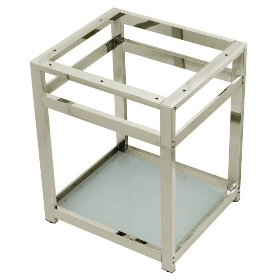 Fauceture  Kingston Commercial 25-Inch X 22-Inch Steel Console Sink Base with Glass Shelf, Polished Nickel