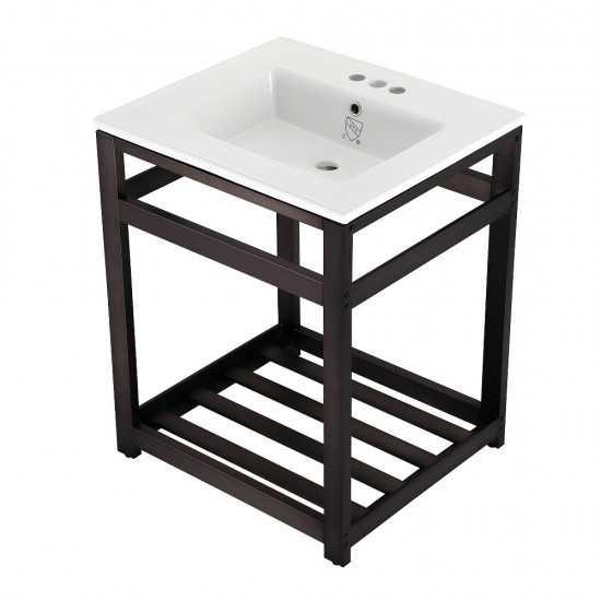 25-Inch Ceramic Console Sink (4-Inch, 3-Hole), White/Oil Rubbed Bronze