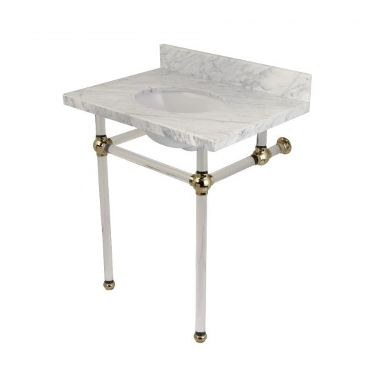 Templeton 30X22 Carrara Marble Vanity Top with Clear Acrylic Feet Combo, Carrara Marble/Polished Nickel