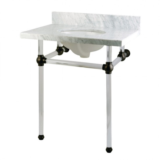 Templeton 30X22 Carrara Marble Vanity Top with Clear Acrylic Feet Combo, Carrara Marble/Oil Rubbed Bronze