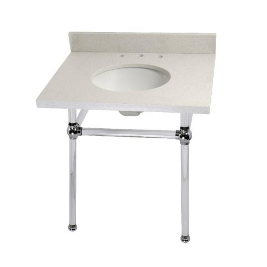 "Templeton 30"" x 22"" White Quartz Console Sink with Clear Acrylic Feet, White Quartz/Polished Chrome"