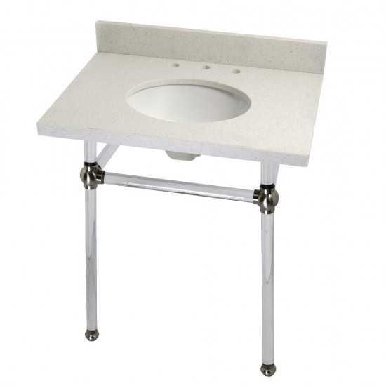 "Templeton 30"" x 22"" White Quartz Console Sink with Clear Acrylic Feet, White Quartz/Brushed Nickel"