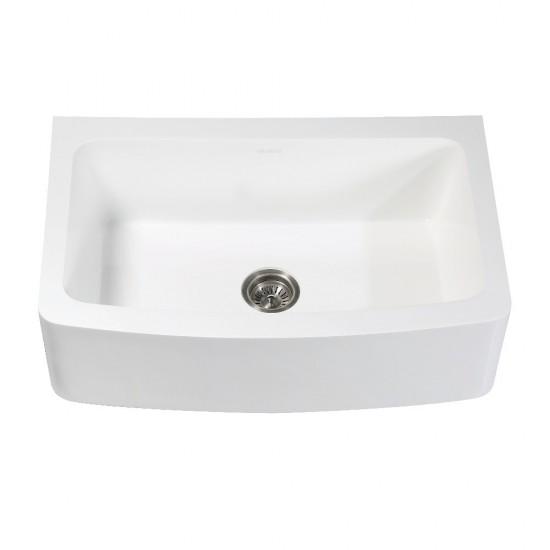 "Solid Surface 33"" x 22"" Farmhouse Single Bowl Kitchen Sink, Matte White"
