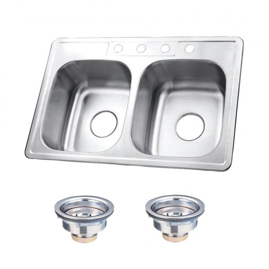 Stainless Steel Self-Rimming Double Bowl Kitchen Sink, Brushed