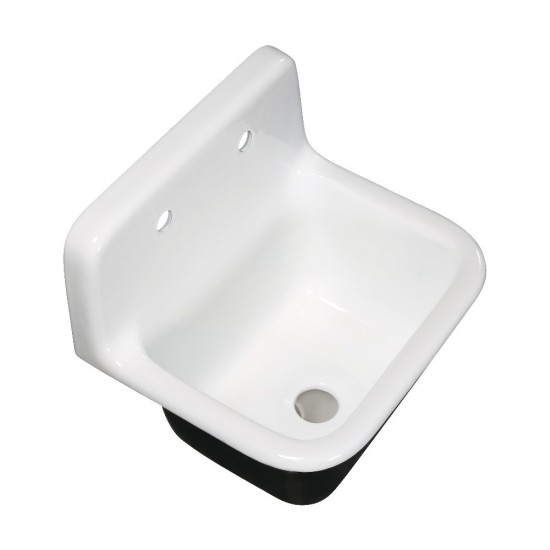 Fauceture  Petra Galley 22 Inch Wall Mount Single Bowl Kitchen Sink, White