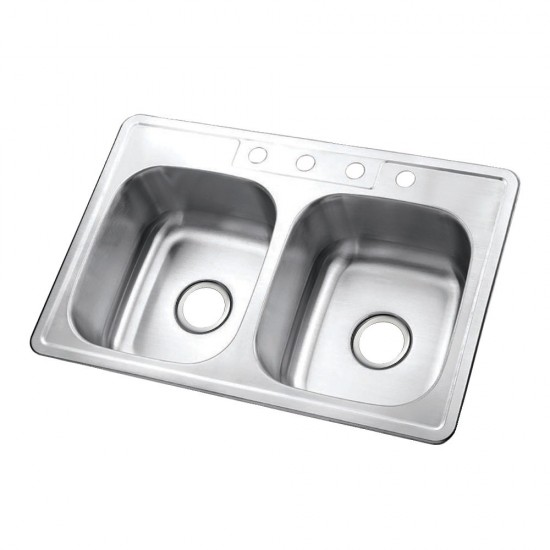 Drop-in Double Bowl Kitchen Sink, Brushed