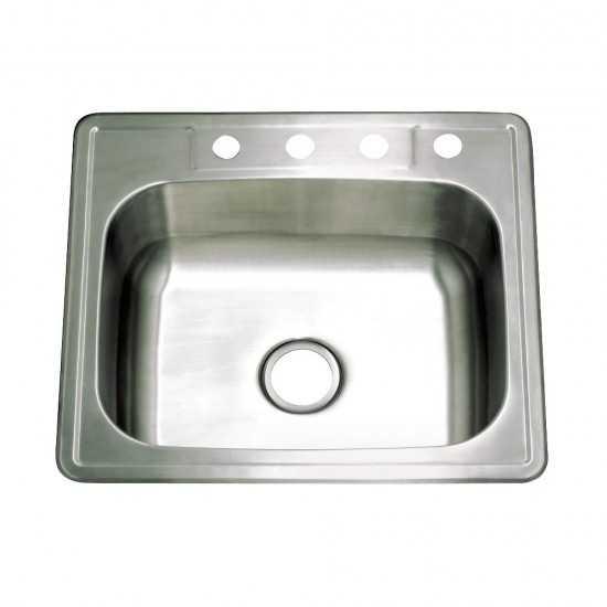 Drop-in Single Bowl Kitchen Sink, Brushed