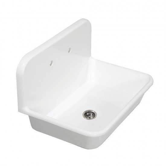 Arcticstone 30 in. Solid Surface Farmhouse Kitchen Sink with Backsplash, Matte White