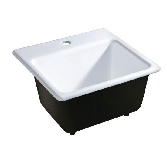 15X15 Single Bowl Top Mount Drop-In Kitchen Sink, White