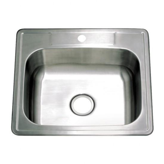 "25""x22""x9"" Self-Rimming Single Bowl Kitchen Sink (1 Hole), Brushed"