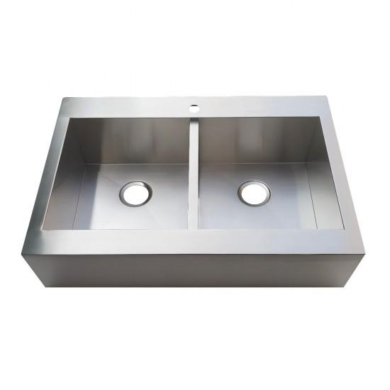 Edinburg Drop-In 33 Inch Double Bowl Kitchen Sink, Brushed