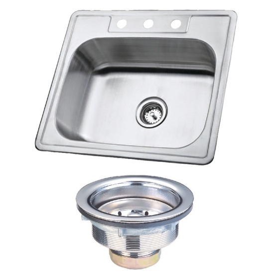 Stainless Steel Self-Rimming Single Bowl Kitchen Sink, Brushed