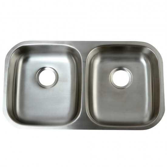 Undermount Double Bowl Kitchen Sink, Brushed