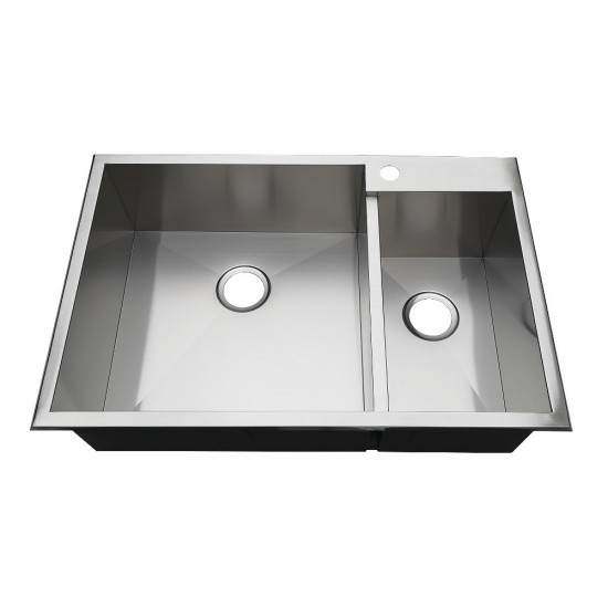"""33"""" Drop-In Double Bowl 18-Gauge Kitchen Sink (1 Hole), Brushed"""