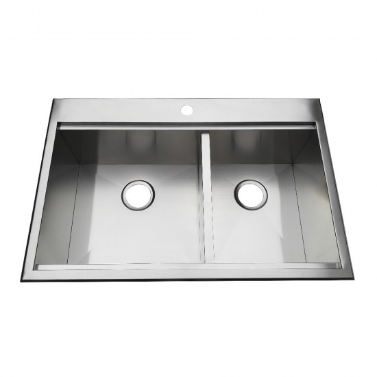 """33"""" Drop-In Double Bowl 18-Gauge Kitchen Sink 1 Hole, Brushed"""