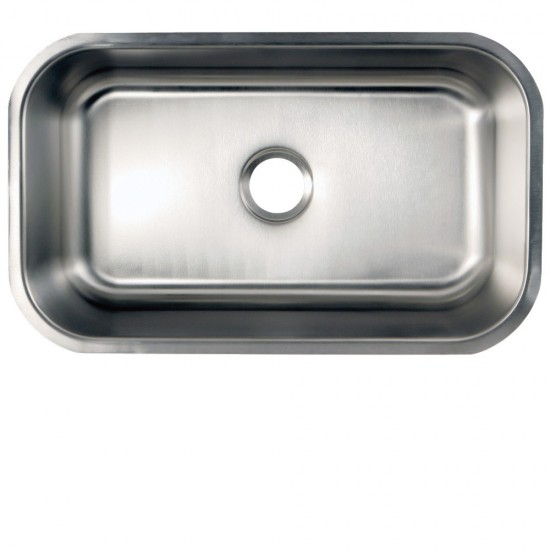 Undermount Stainless Steel Single Bowl Kitchen Sink Combo With Strainer, Brushed