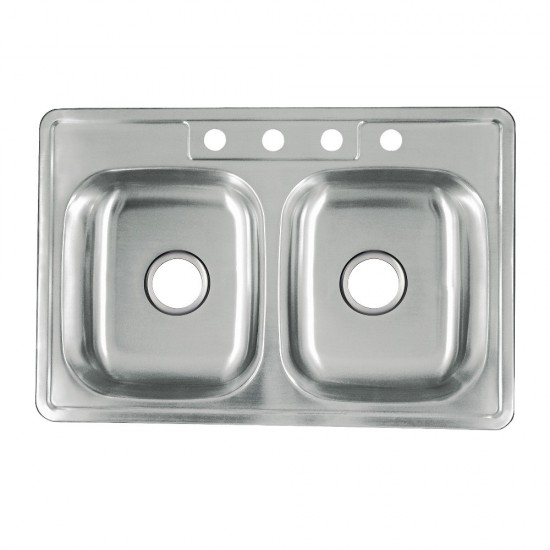 Carefree Drop-in Double Bowl Kitchen Sink, Brushed