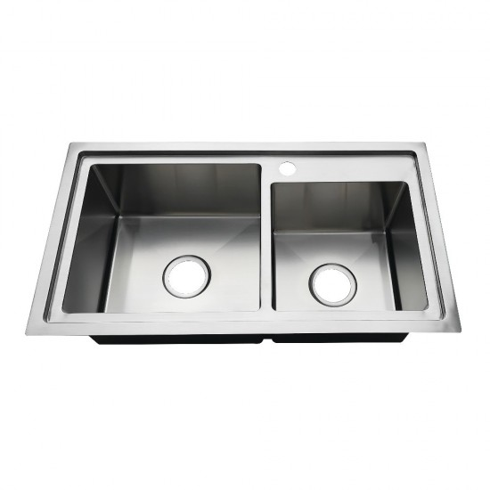 """32"""" Drop-In Double Bowl 18-Gauge Kitchen Sink (1 Hole), Brushed"""