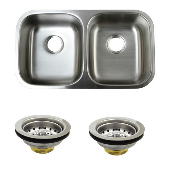 Undermount Stainless Steel Double Bowl Kitchen Sink Combo With Strainers, Brushed