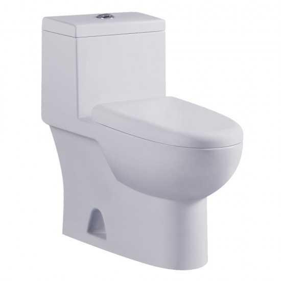 Kingston Brass  Courtyard 1-Piece 1.0/1.6GPF Dual Flush Elongated Toilet, White