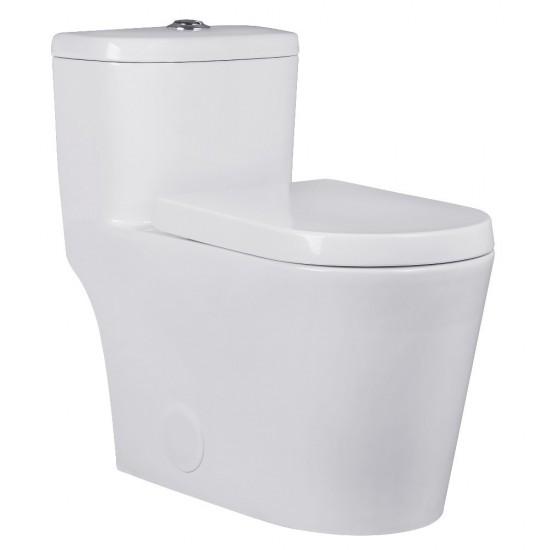 Kingston Brass  Courtyard One-Piece Siphonic 1.28 GPF Single Flush Elongated Toilet, White