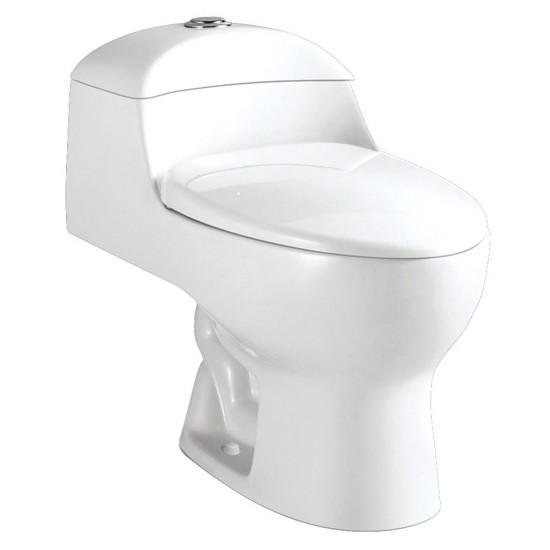 Kingston Brass  Elongated One-Piece Toilet, White