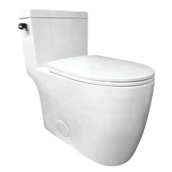 Kingston Brass  Courtyard One-Piece 1.28 GPF Single Flush Elongated Toilet, White