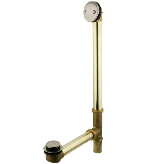 Kingston Brass  18 in. Tub Waste and Overflow with Tip Toe Drain, Brushed Nickel