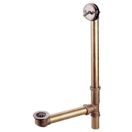 """Kingston Brass  18"""" Trip Lever Waste with Overflow with Grid, Brushed Nickel"""