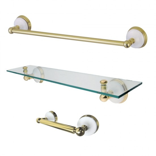 Kingston Brass  Victorian 3-Piece Bathroom Hardware, Polished Brass