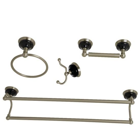 Kingston Brass  Water Onyx 4-Piece Bathroom Accessory Set, Brushed Nickel