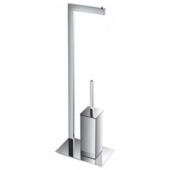 Aqua Piazza by KubeBath Free Standing Toilet Paper Holder With Toilet Brush