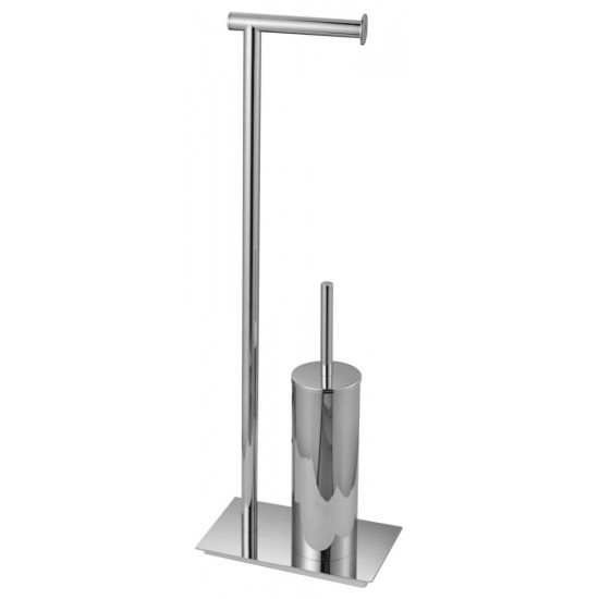 Aqua Rondo by KubeBath Free Standing Toilet Paper Holder With Toilet Brush