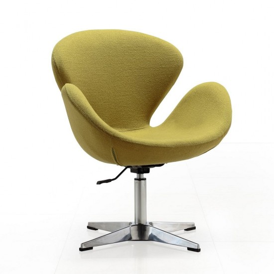 Raspberry Adjustable Swivel Chair in Green and Polished Chrome