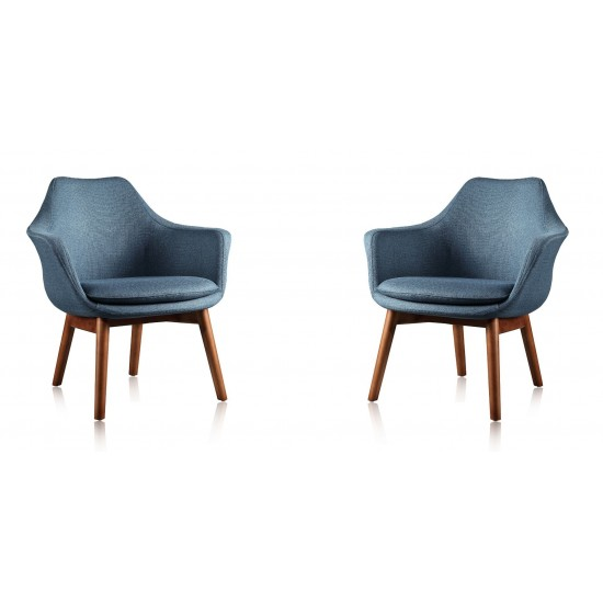 Cronkite Accent Chair in Blue and Walnut (Set of 2)