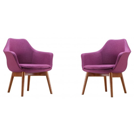 Cronkite Accent Chair in Plum and Walnut (Set of 2)