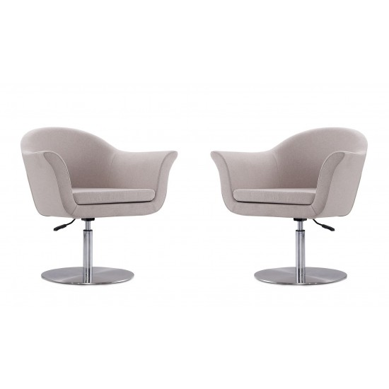Voyager Swivel Adjustable Accent Chair in Barley and Brushed Metal (Set of 2)