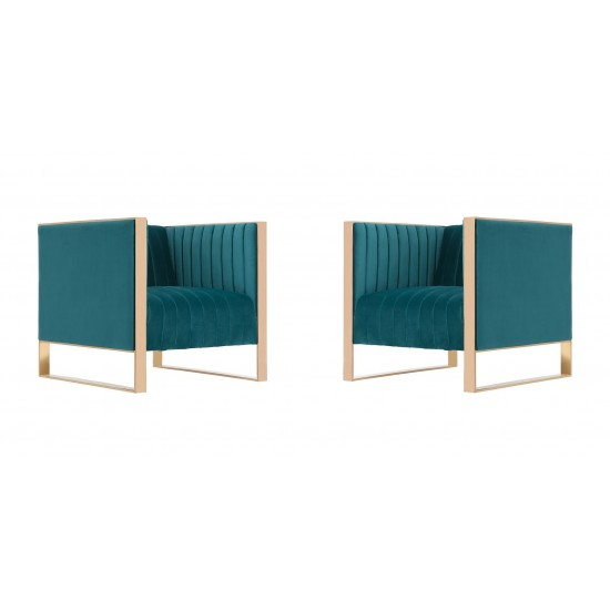 Trillium Accent Chair in Teal and Rose Gold (Set of 2)