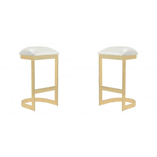 Aura Bar Stool in White and Polished Brass (Set of 2)