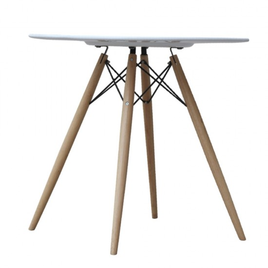 """Fine Mod Imports WoodLeg Dining Table 36"""" Wood Top, White"""