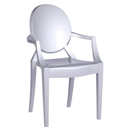 Fine Mod Imports Clear Arm Chair, Silver