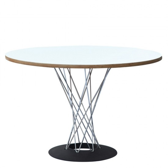 """Fine Mod Imports Wire Dining Table 42"""", White"""