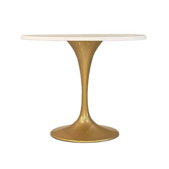 "Fine Mod Imports Gold Fiberglass Flower Table 42"", White"