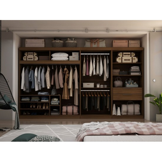 Mulberry 3-Sectional Open Closet Module Wardrobe System in Brown