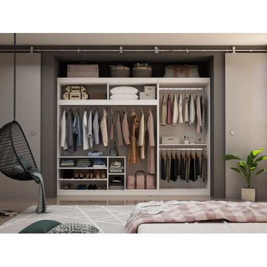 Mulberry 2-Sectional Open Hanging Closet Module Wardrobe System in White