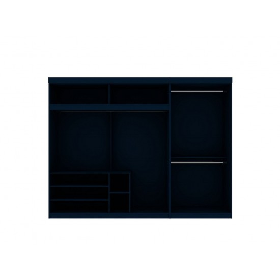 Mulberry 2-Sectional Open Hanging Closet Module Wardrobe System in Tatiana Midnight Blue