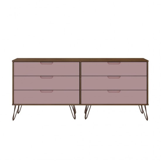 Rockefeller 6-Drawer Double Low Dresser in Native and Rose Pink