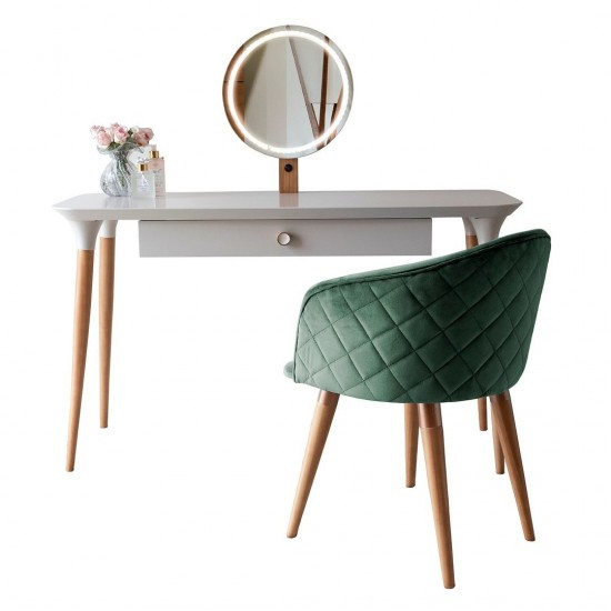 2-Piece HomeDock Vanity Dressing Table and Kari Accent Chair Set in Off White and Green