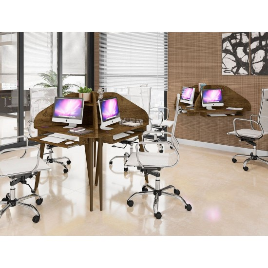 Bradley 4-Piece Round Sectional Cubicle Desk Rustic Brown